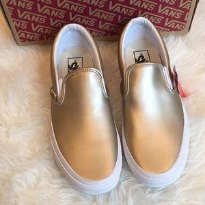 Vans metallic gold slip on sneakers